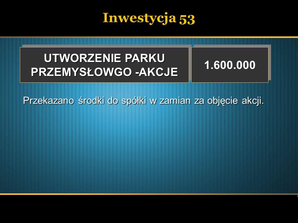 Inwestycja 53 UTWORZENIE PARKU PRZEMYSŁOWGO -AKCJE UTWORZENIE PARKU PRZEMYSŁOWGO -AKCJE 1.600.000 Przekazano środki do spółki w zamian za objęcie akcj