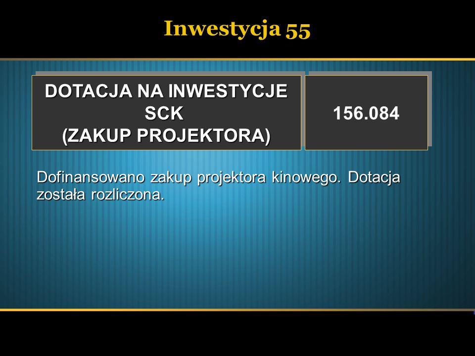 Inwestycja 55 DOTACJA NA INWESTYCJE SCK (ZAKUP PROJEKTORA) DOTACJA NA INWESTYCJE SCK (ZAKUP PROJEKTORA) 156.084 Dofinansowano zakup projektora kinoweg
