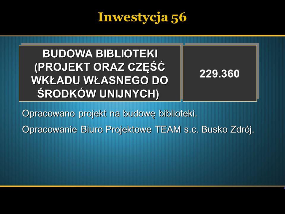 Inwestycja 56 BUDOWA BIBLIOTEKI (PROJEKT ORAZ CZĘŚĆ WKŁADU WŁASNEGO DO ŚRODKÓW UNIJNYCH) BUDOWA BIBLIOTEKI (PROJEKT ORAZ CZĘŚĆ WKŁADU WŁASNEGO DO ŚROD