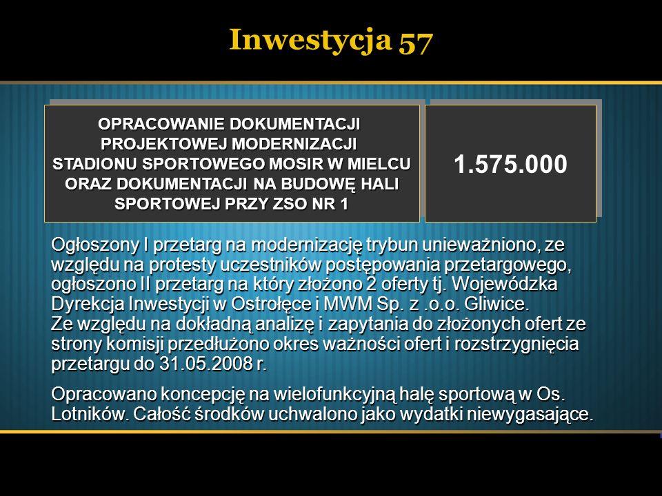 Inwestycja 58 DŹWIĘKOWY SYSTEM OSTRZEGAWCZY – MOSIR DŹWIĘKOWY SYSTEM OSTRZEGAWCZY – MOSIR 315.499 Wykonano dźwiękowy system ostrzegawczy na hali MOSiR.