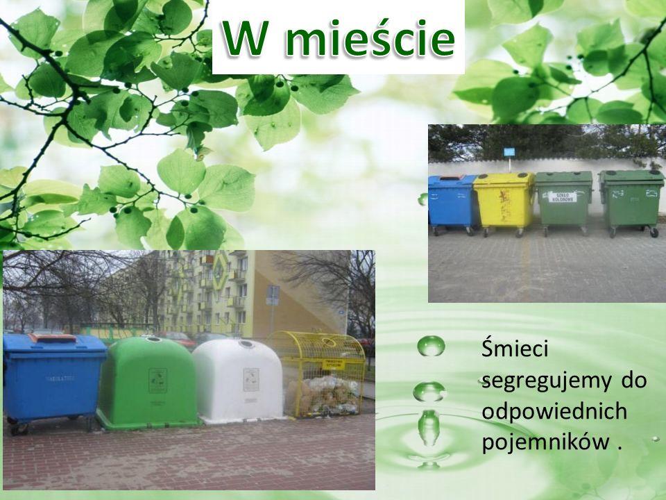 Śmieci segregujemy do odpowiednich pojemników.