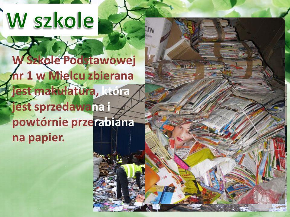 W Szkole Podstawowej nr 1 w Mielcu zbierana jest makulatura, która jest sprzedawana i powtórnie przerabiana na papier.