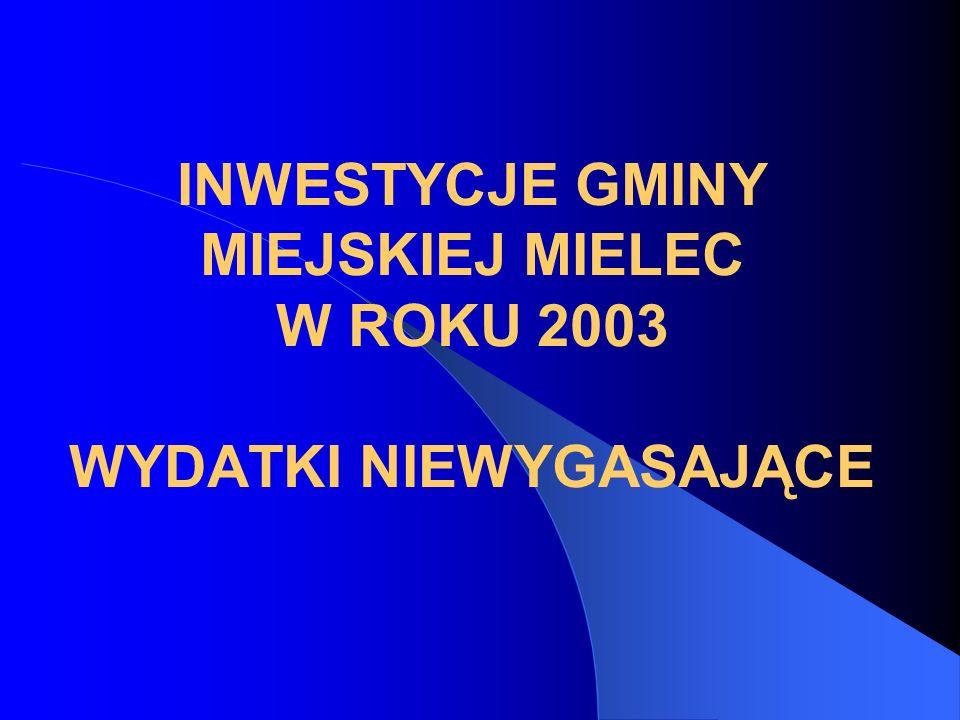 INWESTYCJE GMINY MIEJSKIEJ MIELEC W ROKU 2003 WYDATKI NIEWYGASAJĄCE