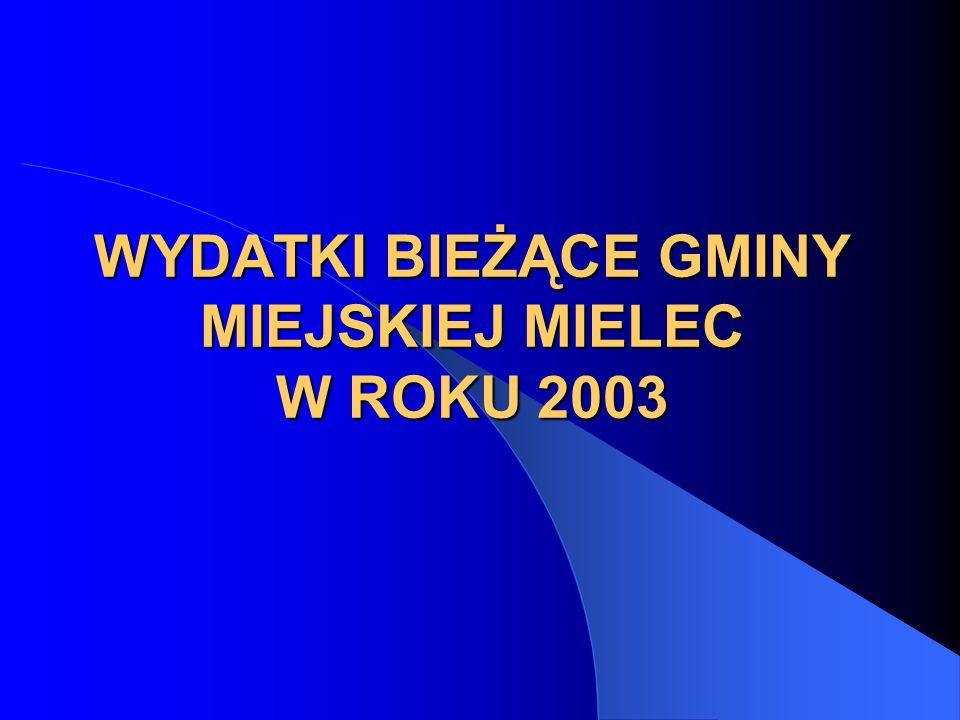 WYDATKI BIEŻĄCE GMINY MIEJSKIEJ MIELEC W ROKU 2003