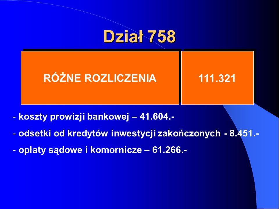 Dział 758 RÓŻNE ROZLICZENIA 111.321 - koszty prowizji bankowej – 41.604.- - odsetki od kredytów inwestycji zakończonych - 8.451.- - opłaty sądowe i komornicze – 61.266.-