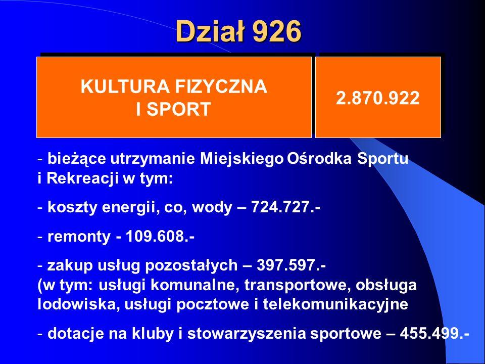 Dział 926 KULTURA FIZYCZNA I SPORT KULTURA FIZYCZNA I SPORT 2.870.922 - bieżące utrzymanie Miejskiego Ośrodka Sportu i Rekreacji w tym: - koszty energii, co, wody – 724.727.- - remonty - 109.608.- - zakup usług pozostałych – 397.597.- (w tym: usługi komunalne, transportowe, obsługa lodowiska, usługi pocztowe i telekomunikacyjne - dotacje na kluby i stowarzyszenia sportowe – 455.499.-