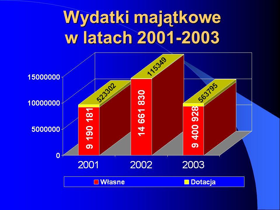 Wydatki majątkowe w latach 2001-2003