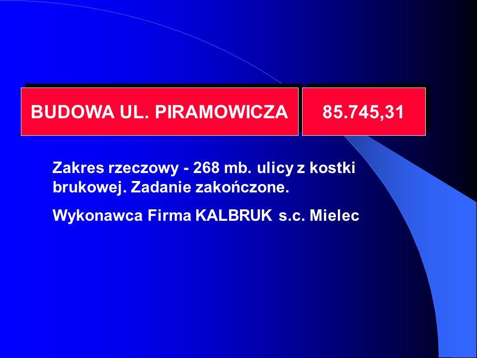 BUDOWA UL. PIRAMOWICZA 85.745,31 Zakres rzeczowy - 268 mb.