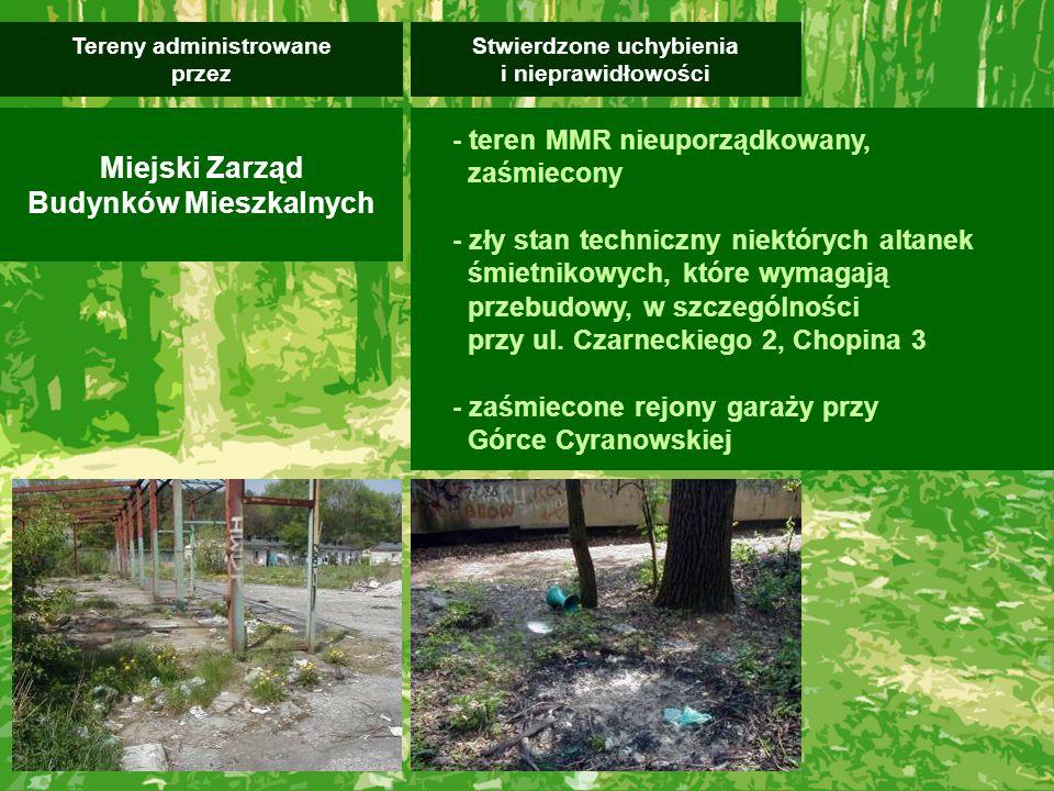 - teren MMR nieuporządkowany, zaśmiecony - zły stan techniczny niektórych altanek śmietnikowych, które wymagają przebudowy, w szczególności przy ul. C