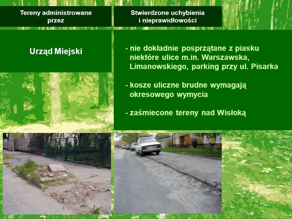 - nie dokładnie posprzątane z piasku niektóre ulice m.in. Warszawska, Limanowskiego, parking przy ul. Pisarka - kosze uliczne brudne wymagają okresowe