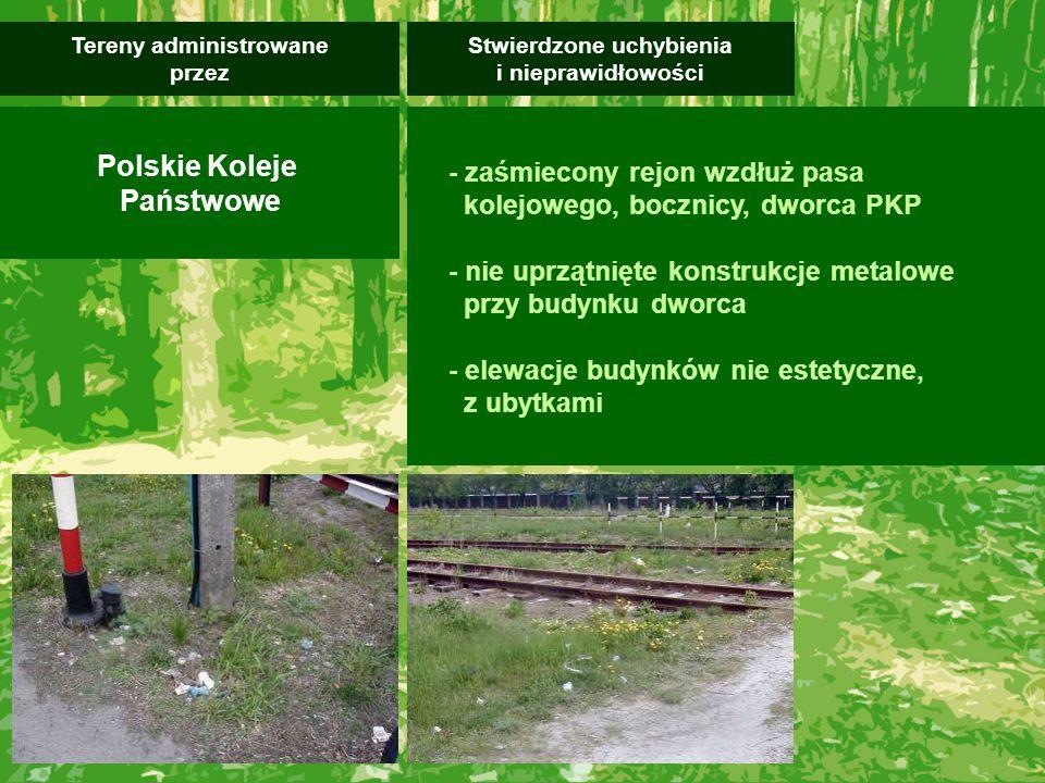 - zaśmiecony rejon wzdłuż pasa kolejowego, bocznicy, dworca PKP - nie uprzątnięte konstrukcje metalowe przy budynku dworca - elewacje budynków nie estetyczne, z ubytkami Stwierdzone uchybienia i nieprawidłowości Tereny administrowane przez Polskie Koleje Państwowe