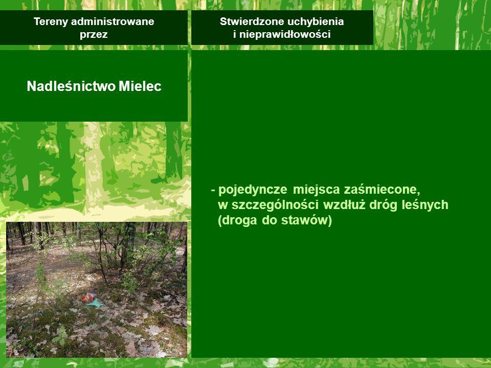 - pojedyncze miejsca zaśmiecone, w szczególności wzdłuż dróg leśnych (droga do stawów) Stwierdzone uchybienia i nieprawidłowości Tereny administrowane