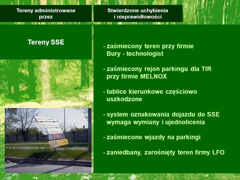 - zaśmiecony teren przy firmie Bury - technologist - zaśmiecony rejon parkingu dla TIR przy firmie MELNOX - tablice kierunkowe częściowo uszkodzone - system oznakowania dojazdu do SSE wymaga wymiany i ujednolicenia - zaśmiecone wjazdy na parkingi - zaniedbany, zarośnięty teren firmy LFO Stwierdzone uchybienia i nieprawidłowości Tereny administrowane przez Tereny SSE