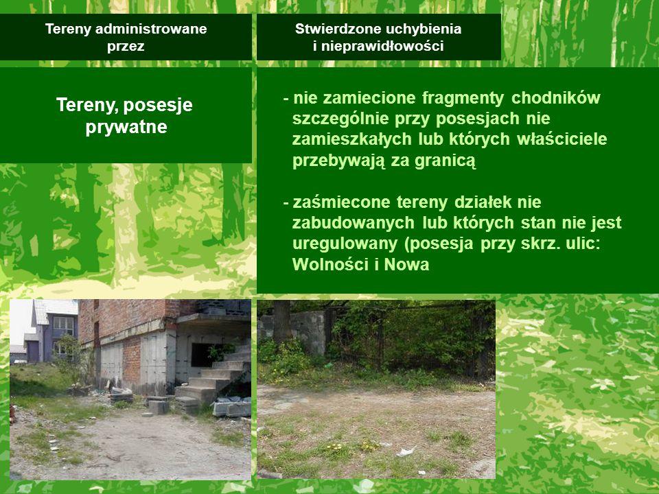- nie zamiecione fragmenty chodników szczególnie przy posesjach nie zamieszkałych lub których właściciele przebywają za granicą - zaśmiecone tereny działek nie zabudowanych lub których stan nie jest uregulowany (posesja przy skrz.