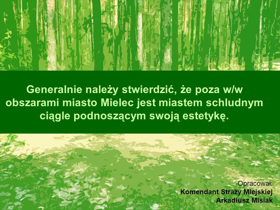 Generalnie należy stwierdzić, że poza w/w obszarami miasto Mielec jest miastem schludnym ciągle podnoszącym swoją estetykę. Opracował: Komendant Straż