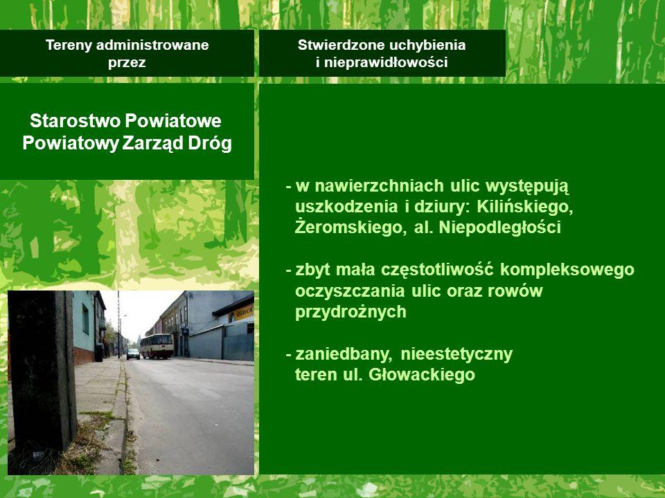 - w nawierzchniach ulic występują uszkodzenia i dziury: Kilińskiego, Żeromskiego, al.