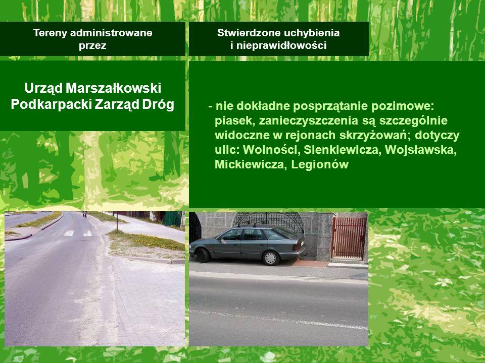 - nie dokładne posprzątanie pozimowe: piasek, zanieczyszczenia są szczególnie widoczne w rejonach skrzyżowań; dotyczy ulic: Wolności, Sienkiewicza, Wo