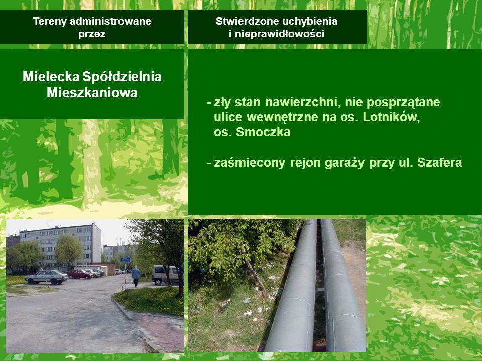 - teren MMR nieuporządkowany, zaśmiecony - zły stan techniczny niektórych altanek śmietnikowych, które wymagają przebudowy, w szczególności przy ul.