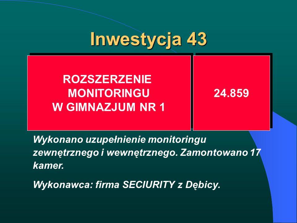 Inwestycja 43 ROZSZERZENIE MONITORINGU W GIMNAZJUM NR 1 ROZSZERZENIE MONITORINGU W GIMNAZJUM NR 1 24.859 Wykonano uzupełnienie monitoringu zewnętrzneg