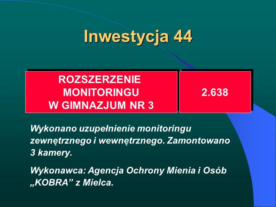 Inwestycja 44 ROZSZERZENIE MONITORINGU W GIMNAZJUM NR 3 ROZSZERZENIE MONITORINGU W GIMNAZJUM NR 3 2.638 Wykonano uzupełnienie monitoringu zewnętrznego