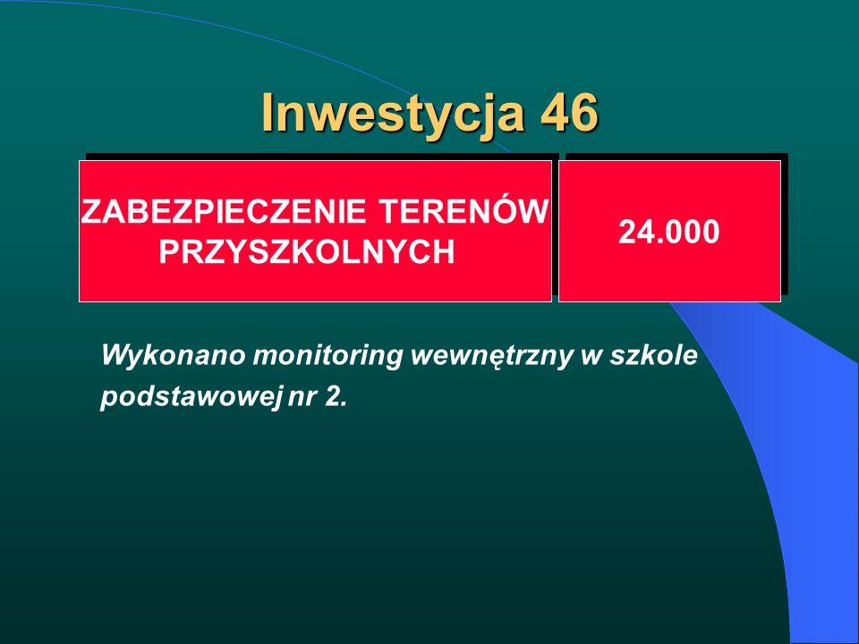 Inwestycja 46 ZABEZPIECZENIE TERENÓW PRZYSZKOLNYCH ZABEZPIECZENIE TERENÓW PRZYSZKOLNYCH 24.000 Wykonano monitoring wewnętrzny w szkole podstawowej nr