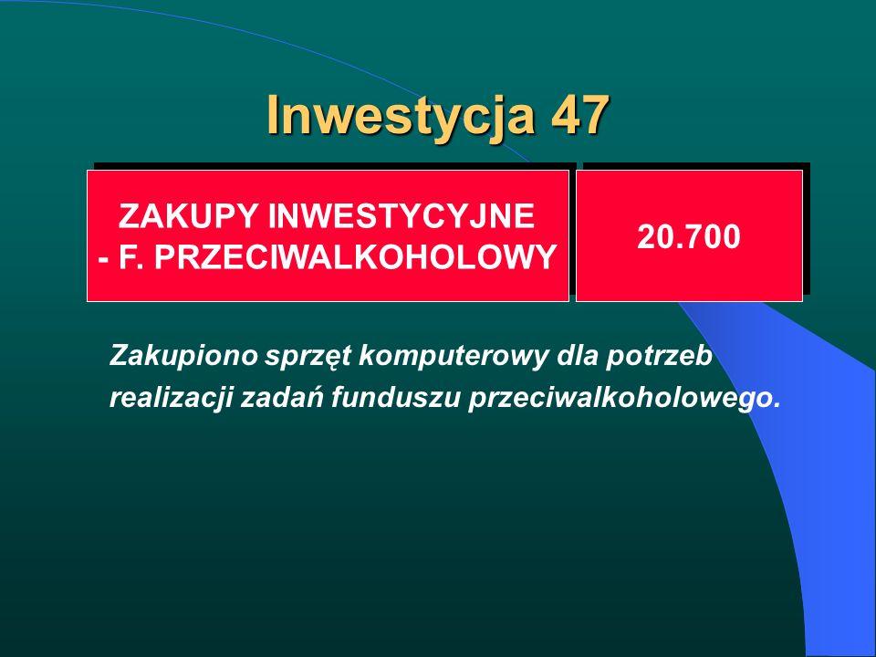 Inwestycja 47 ZAKUPY INWESTYCYJNE - F. PRZECIWALKOHOLOWY ZAKUPY INWESTYCYJNE - F. PRZECIWALKOHOLOWY 20.700 Zakupiono sprzęt komputerowy dla potrzeb re