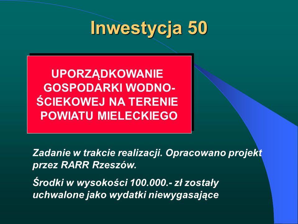 Inwestycja 50 UPORZĄDKOWANIE GOSPODARKI WODNO- ŚCIEKOWEJ NA TERENIE POWIATU MIELECKIEGO UPORZĄDKOWANIE GOSPODARKI WODNO- ŚCIEKOWEJ NA TERENIE POWIATU