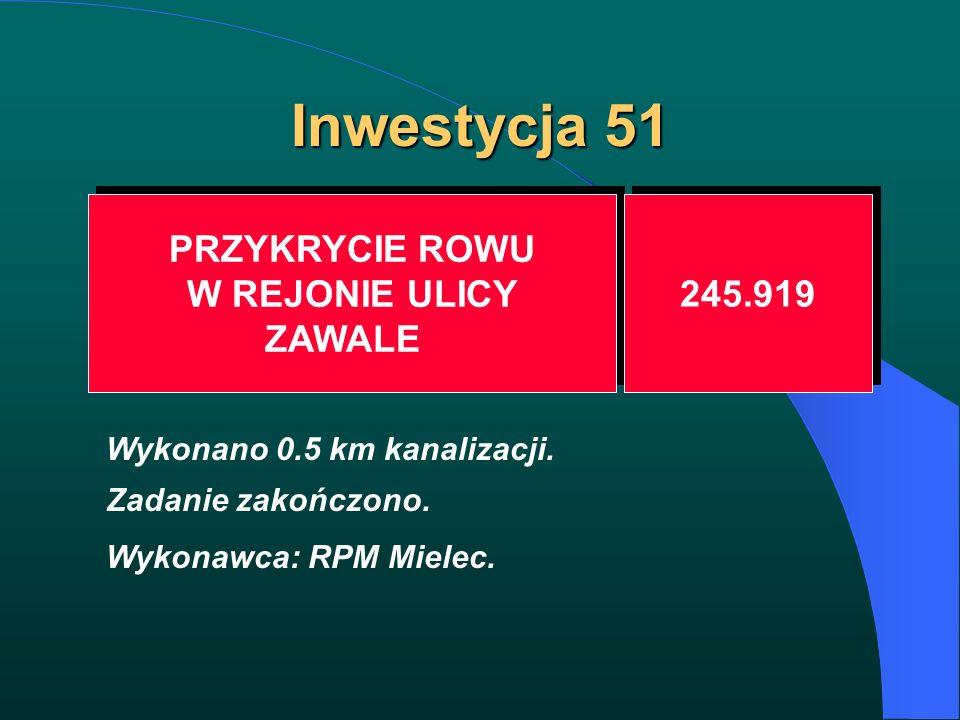 Inwestycja 51 PRZYKRYCIE ROWU W REJONIE ULICY ZAWALE PRZYKRYCIE ROWU W REJONIE ULICY ZAWALE 245.919 Wykonano 0.5 km kanalizacji. Zadanie zakończono. W