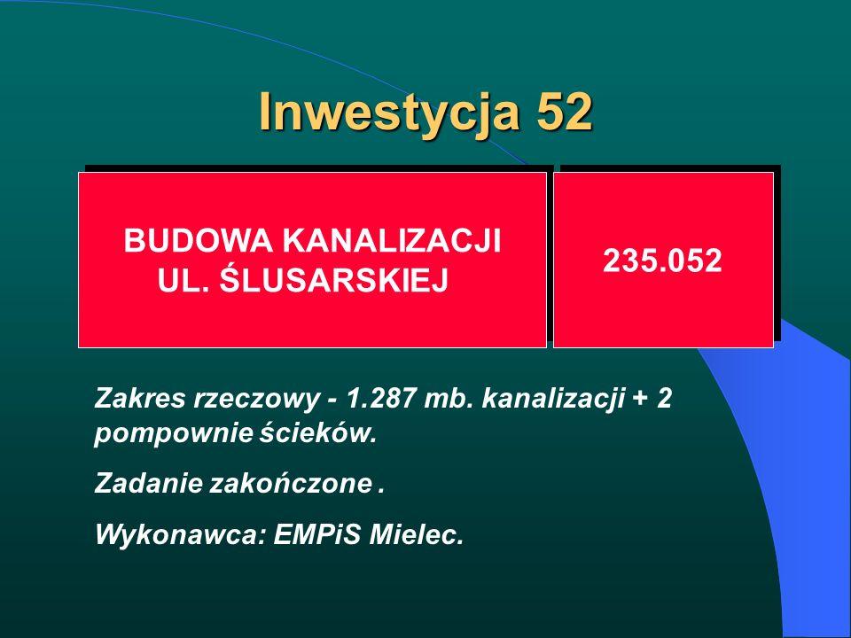 Inwestycja 52 BUDOWA KANALIZACJI UL. ŚLUSARSKIEJ BUDOWA KANALIZACJI UL. ŚLUSARSKIEJ 235.052 Zakres rzeczowy - 1.287 mb. kanalizacji + 2 pompownie ście