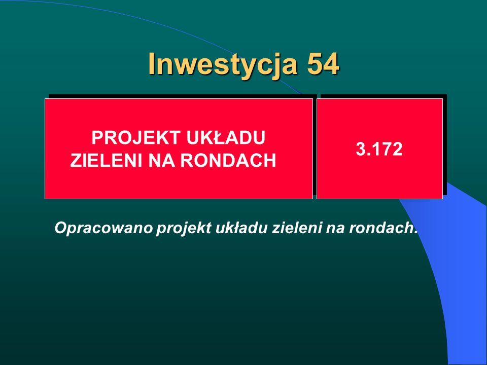 Inwestycja 54 PROJEKT UKŁADU ZIELENI NA RONDACH PROJEKT UKŁADU ZIELENI NA RONDACH 3.172 Opracowano projekt układu zieleni na rondach.