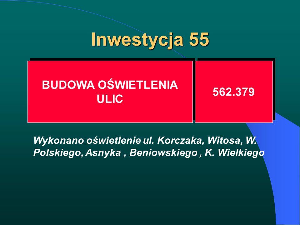 Inwestycja 55 BUDOWA OŚWIETLENIA ULIC BUDOWA OŚWIETLENIA ULIC 562.379 Wykonano oświetlenie ul. Korczaka, Witosa, W. Polskiego, Asnyka, Beniowskiego, K