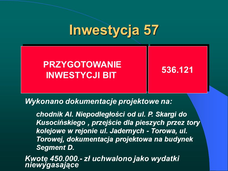 Inwestycja 57 PRZYGOTOWANIE INWESTYCJI BIT PRZYGOTOWANIE INWESTYCJI BIT 536.121 Wykonano dokumentacje projektowe na: chodnik Al. Niepodległości od ul.