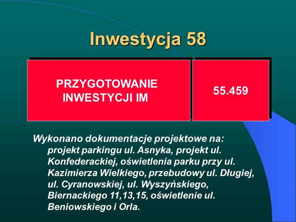 Inwestycja 58 PRZYGOTOWANIE INWESTYCJI IM PRZYGOTOWANIE INWESTYCJI IM 55.459 Wykonano dokumentacje projektowe na: projekt parkingu ul. Asnyka, projekt