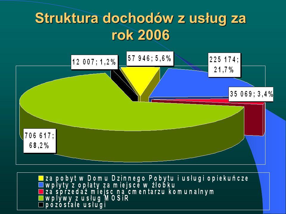 Struktura dochodów z usług za rok 2006