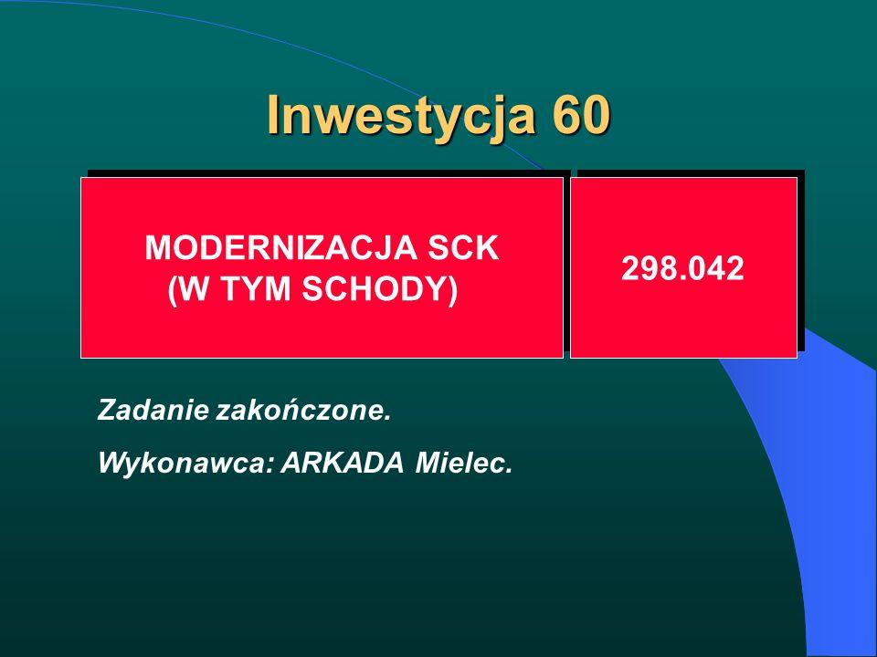 Inwestycja 60 MODERNIZACJA SCK (W TYM SCHODY) MODERNIZACJA SCK (W TYM SCHODY) 298.042 Zadanie zakończone. Wykonawca: ARKADA Mielec.