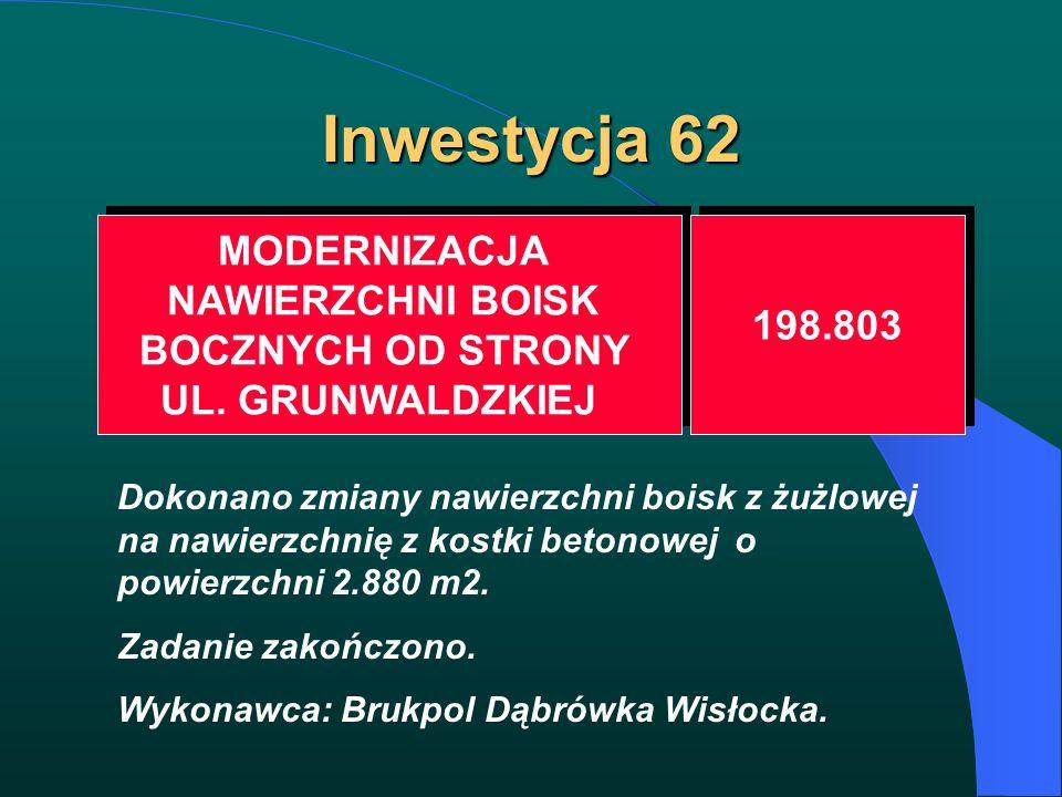 Inwestycja 62 MODERNIZACJA NAWIERZCHNI BOISK BOCZNYCH OD STRONY UL. GRUNWALDZKIEJ MODERNIZACJA NAWIERZCHNI BOISK BOCZNYCH OD STRONY UL. GRUNWALDZKIEJ
