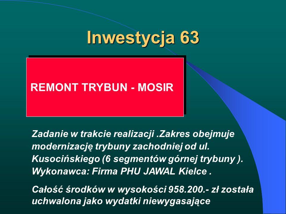 Inwestycja 63 REMONT TRYBUN - MOSIR Zadanie w trakcie realizacji.Zakres obejmuje modernizację trybuny zachodniej od ul. Kusocińskiego (6 segmentów gór
