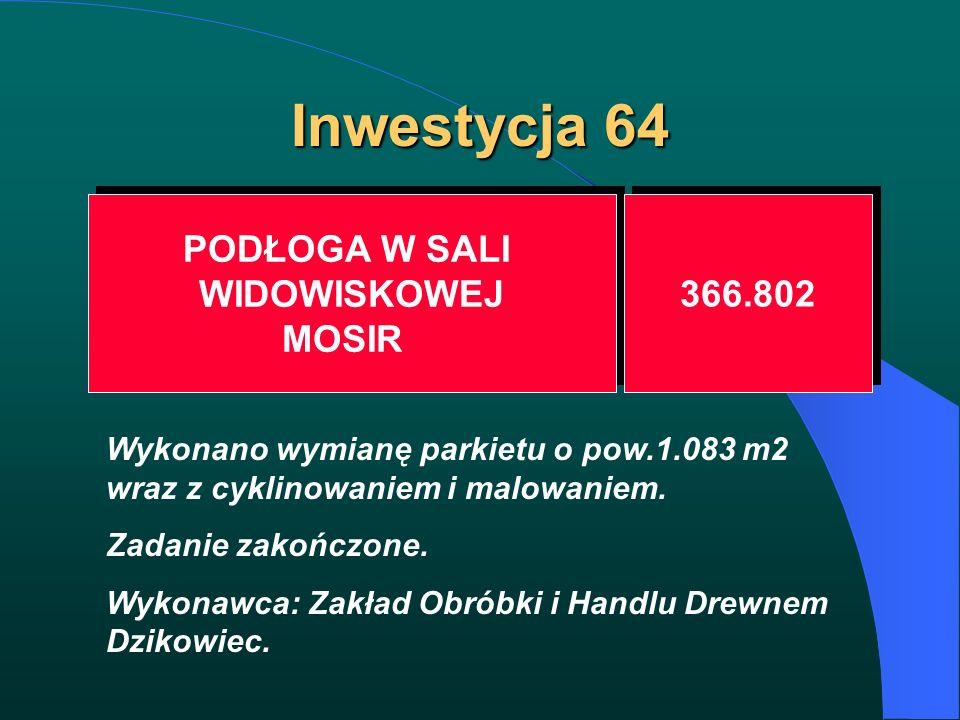 Inwestycja 64 PODŁOGA W SALI WIDOWISKOWEJ MOSIR PODŁOGA W SALI WIDOWISKOWEJ MOSIR 366.802 Wykonano wymianę parkietu o pow.1.083 m2 wraz z cyklinowanie