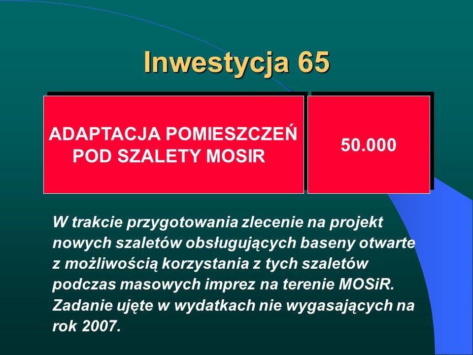 Inwestycja 65 ADAPTACJA POMIESZCZEŃ POD SZALETY MOSIR ADAPTACJA POMIESZCZEŃ POD SZALETY MOSIR 50.000 W trakcie przygotowania zlecenie na projekt nowyc