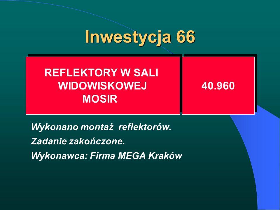 Inwestycja 66 REFLEKTORY W SALI WIDOWISKOWEJ MOSIR REFLEKTORY W SALI WIDOWISKOWEJ MOSIR 40.960 Wykonano montaż reflektorów. Zadanie zakończone. Wykona