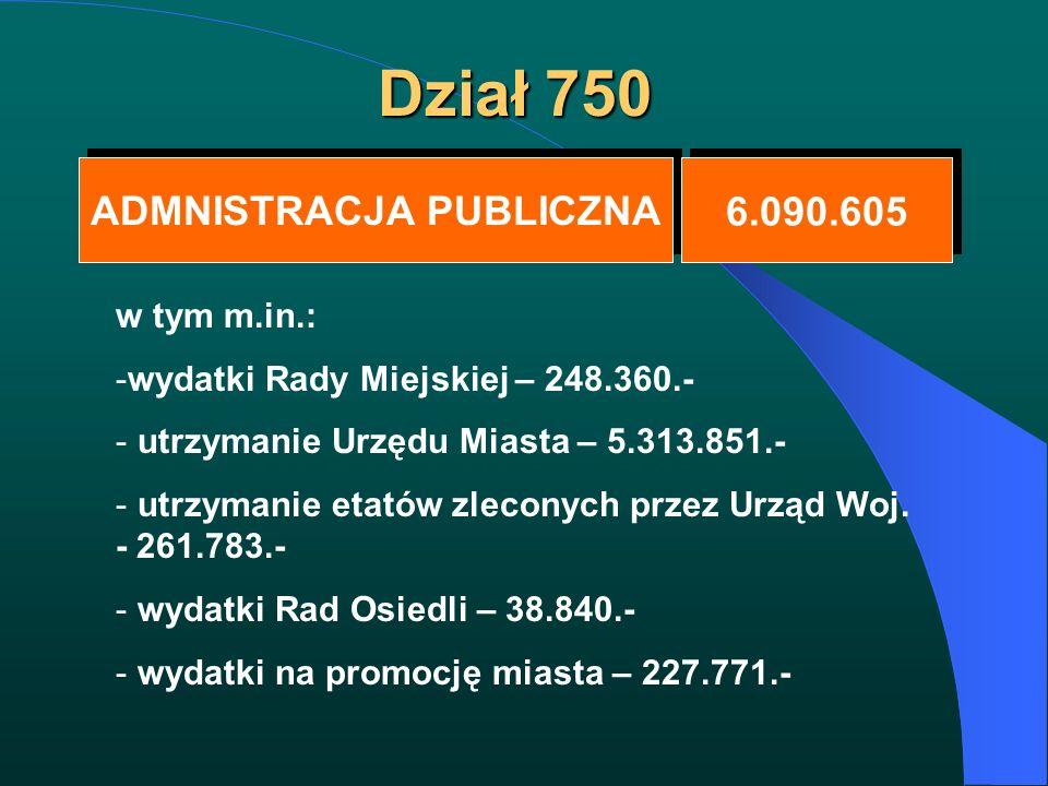 Dział 750 ADMNISTRACJA PUBLICZNA ADMNISTRACJA PUBLICZNA 6.090.605 w tym m.in.: -wydatki Rady Miejskiej – 248.360.- - utrzymanie Urzędu Miasta – 5.313.