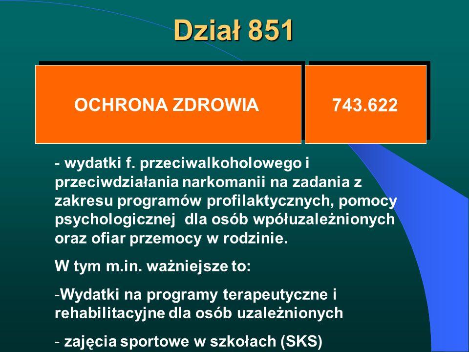 Dział 851 OCHRONA ZDROWIA 743.622 - wydatki f. przeciwalkoholowego i przeciwdziałania narkomanii na zadania z zakresu programów profilaktycznych, pomo