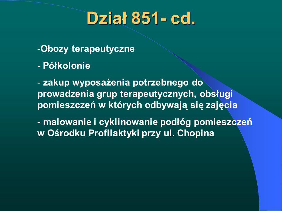 Dział 851- cd. -Obozy terapeutyczne - Półkolonie - zakup wyposażenia potrzebnego do prowadzenia grup terapeutycznych, obsługi pomieszczeń w których od