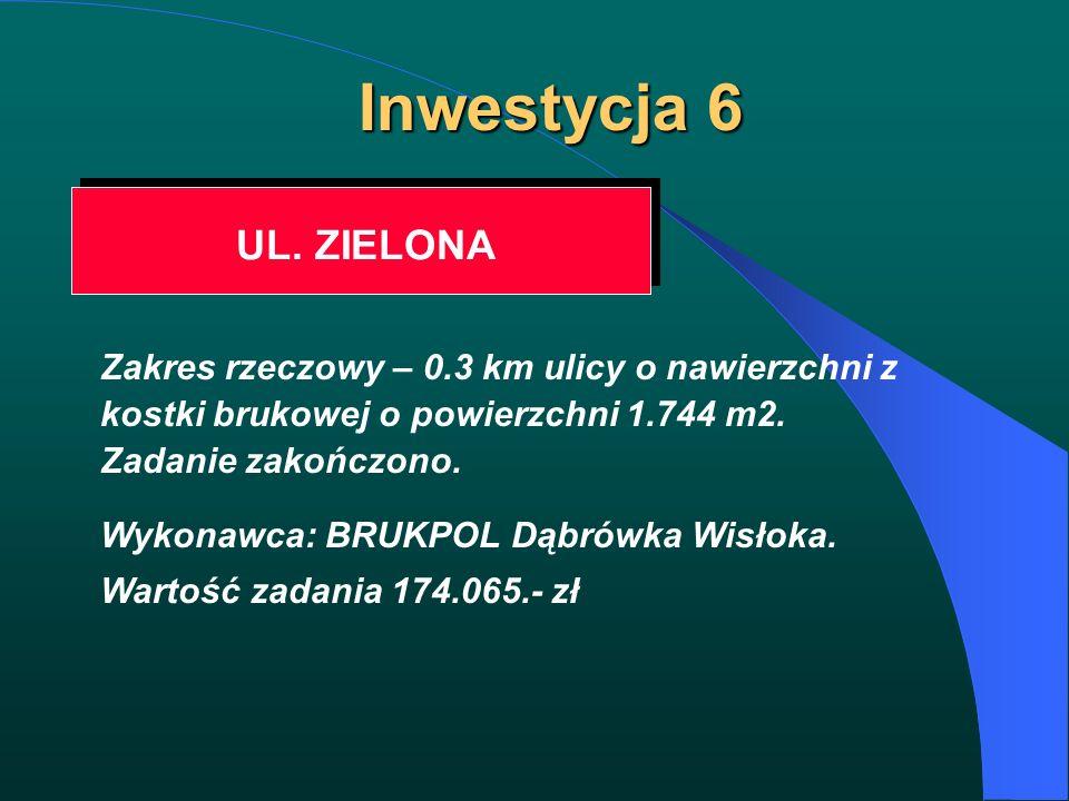 Inwestycja 6 UL. ZIELONA Zakres rzeczowy – 0.3 km ulicy o nawierzchni z kostki brukowej o powierzchni 1.744 m2. Zadanie zakończono. Wykonawca: BRUKPOL