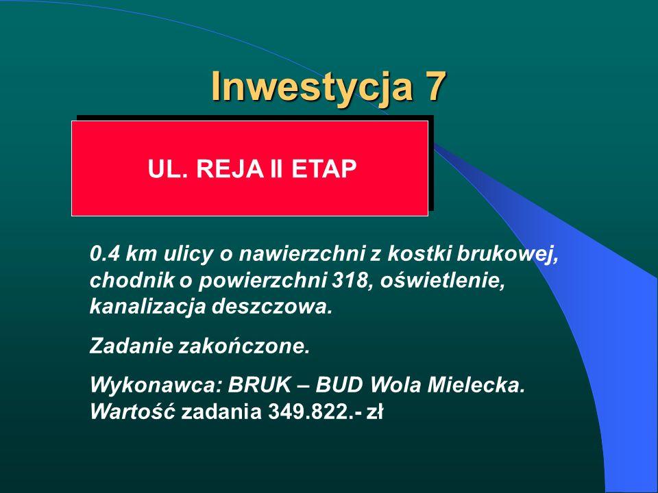 Inwestycja 7 UL. REJA II ETAP 0.4 km ulicy o nawierzchni z kostki brukowej, chodnik o powierzchni 318, oświetlenie, kanalizacja deszczowa. Zadanie zak
