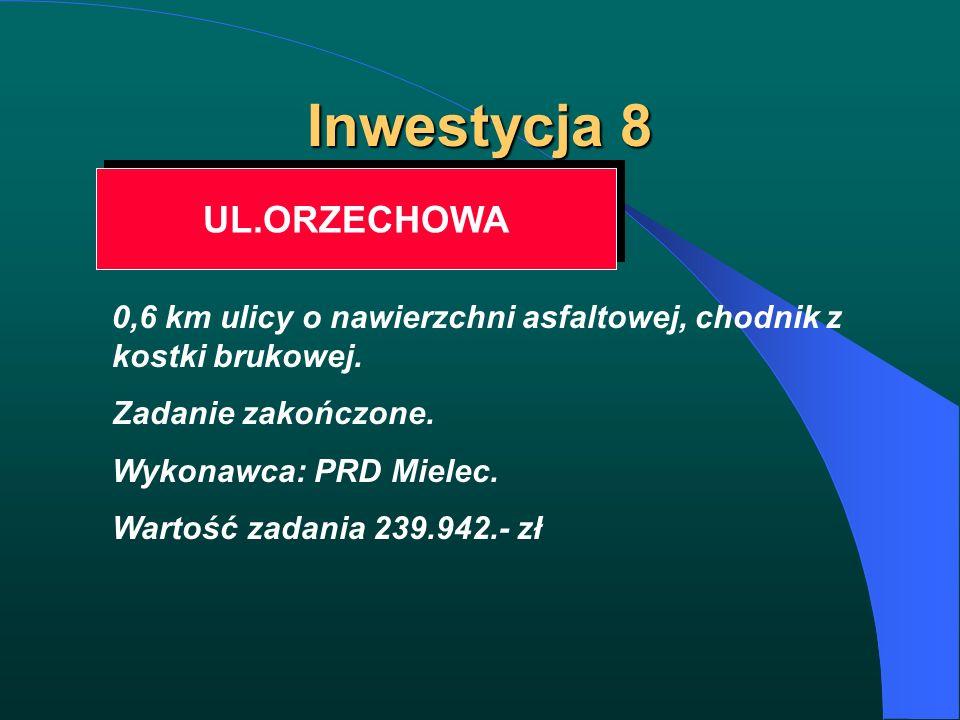 Inwestycja 8 UL.ORZECHOWA 0,6 km ulicy o nawierzchni asfaltowej, chodnik z kostki brukowej. Zadanie zakończone. Wykonawca: PRD Mielec. Wartość zadania