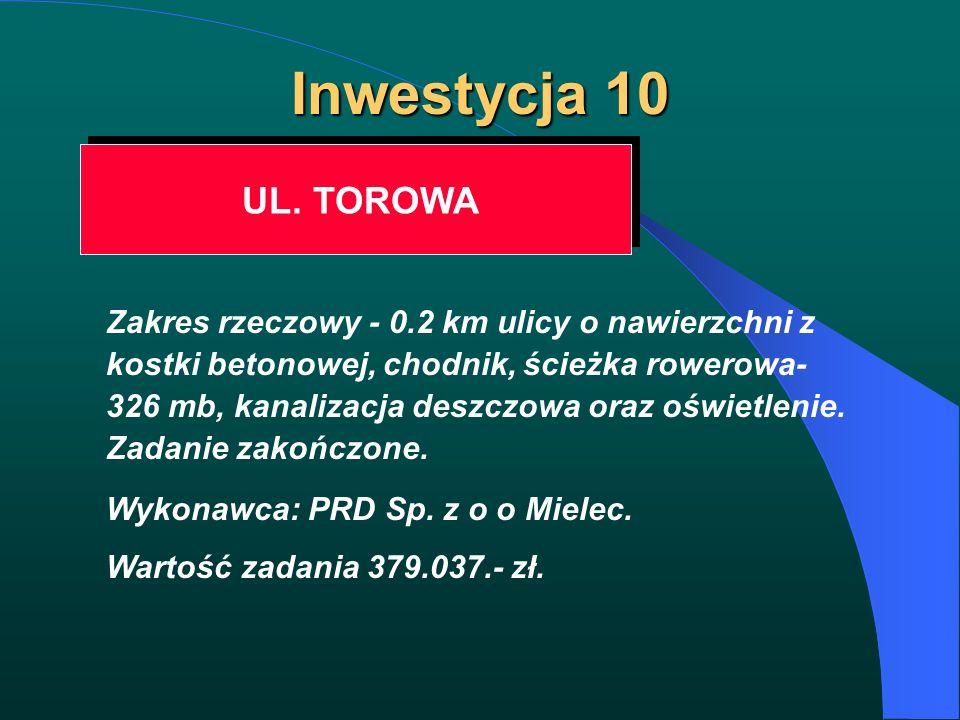 Inwestycja 10 UL. TOROWA UL. TOROWA Zakres rzeczowy - 0.2 km ulicy o nawierzchni z kostki betonowej, chodnik, ścieżka rowerowa- 326 mb, kanalizacja de