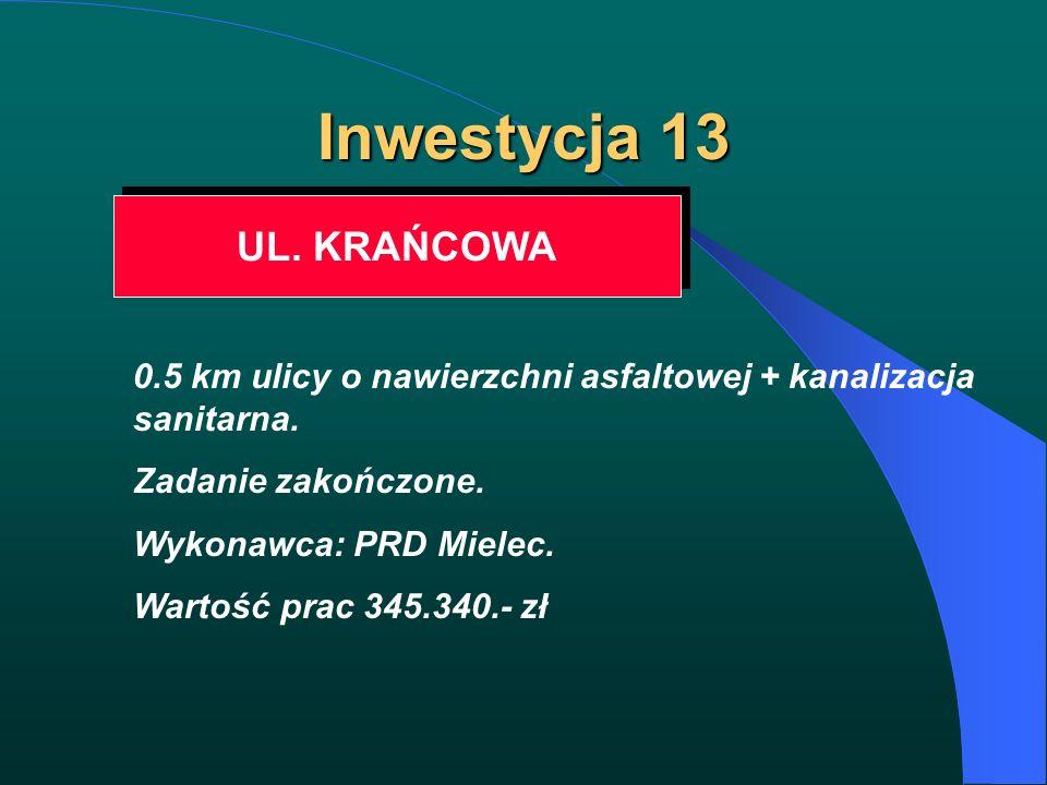 Inwestycja 13 UL. KRAŃCOWA 0.5 km ulicy o nawierzchni asfaltowej + kanalizacja sanitarna. Zadanie zakończone. Wykonawca: PRD Mielec. Wartość prac 345.