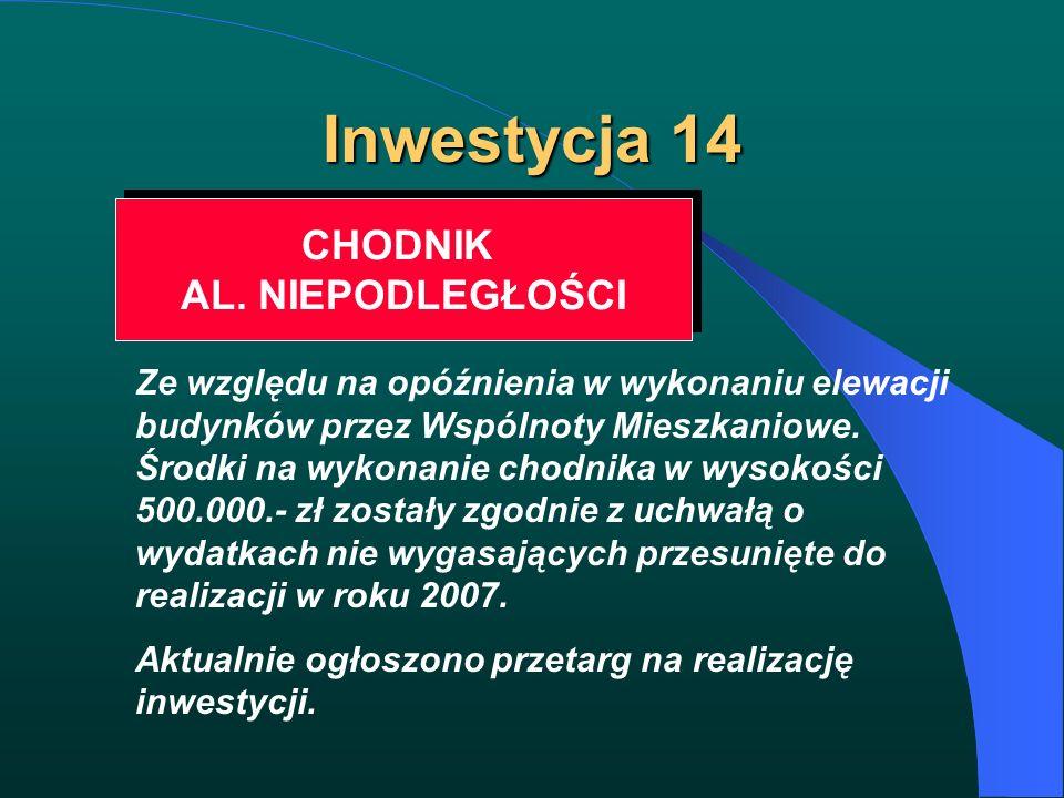 Inwestycja 14 CHODNIK AL. NIEPODLEGŁOŚCI CHODNIK AL. NIEPODLEGŁOŚCI Ze względu na opóźnienia w wykonaniu elewacji budynków przez Wspólnoty Mieszkaniow