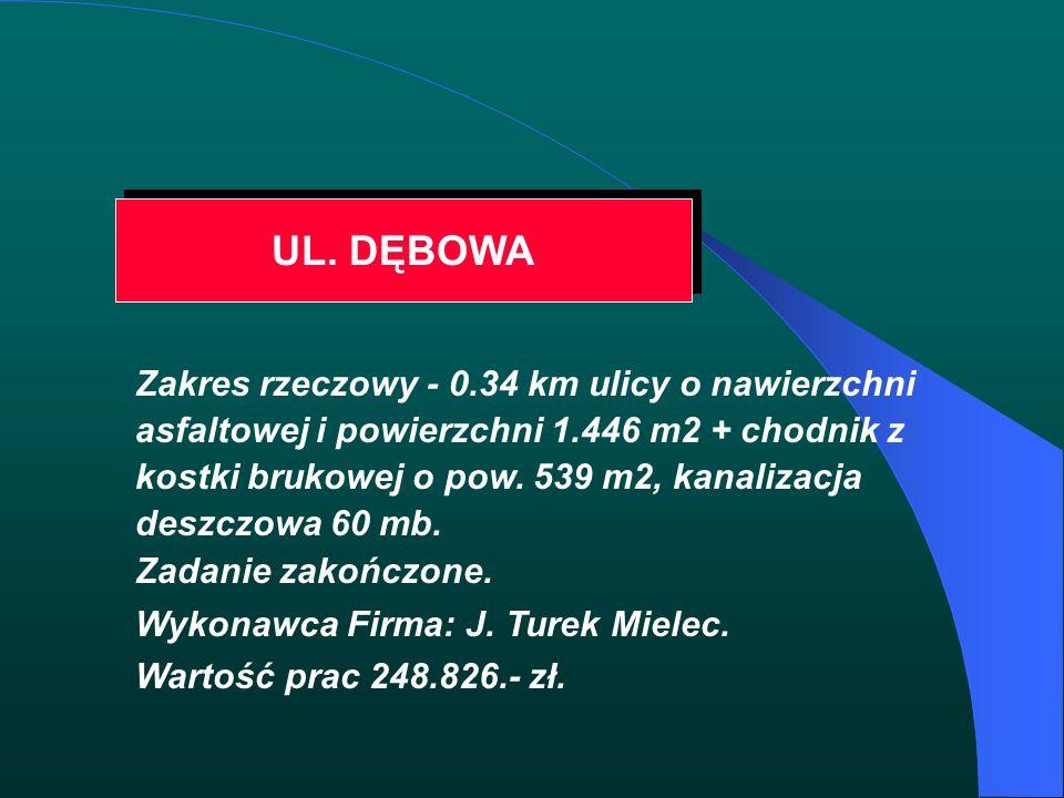 UL. DĘBOWA Zakres rzeczowy - 0.34 km ulicy o nawierzchni asfaltowej i powierzchni 1.446 m2 + chodnik z kostki brukowej o pow. 539 m2, kanalizacja desz